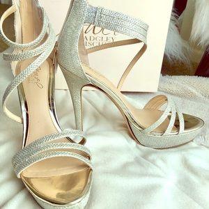 Jewel Badgley Mischka platform glitter heel